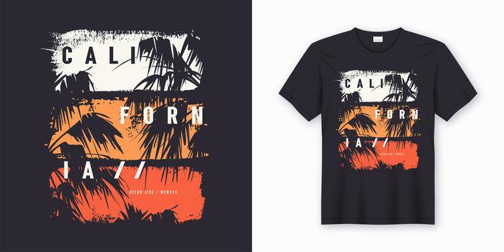 California Ocean side stylish t-shirt and apparel trendy design
