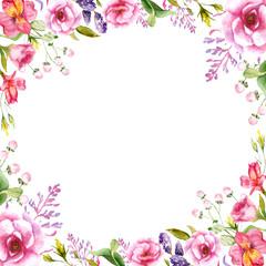 watercolor drawings of summer flowers frame, sketch