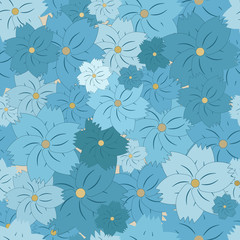 Seamless floral pattern of blue flowers of different shades and sizes. Light background.