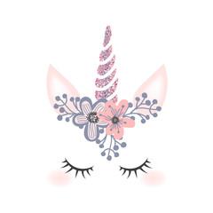 Cute unicorn head with flower crown and rosegold glitter horn  isolated on white background. Vector hand drawn illustration for card and shirt design.