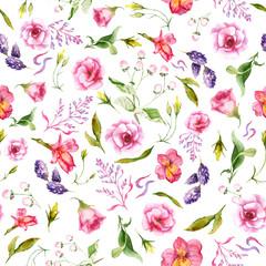 watercolor drawings of summer flowers, seamless pattern