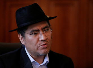 Bolivia's Foreign Minister Diego Pari Rodriguez speaks during a news conference in La Paz