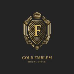Royal monogram design. Luxury volumetric logo template. 3d line ornament. Emblem with letter F for Business sign, badge, crest, label, Boutique brand, Hotel, Restaurant, Heraldic. Vector illustration