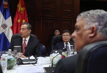 China's Foreign Minister Wang Yi attends a meeting in Santo Domingo