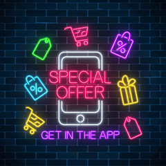 Neon advertising banner of mobile app special offer. Shopping icons and mobile phone. Discounts and sales in application