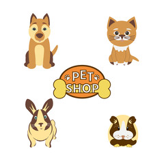 """Vector colorful collection set of pets. Cat, dog, rabbit, guinea pig  and icon whith text """"Pet shop"""" on white background."""