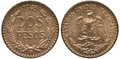 Mexico Mexican golden coin 2 two peso 1945, value and date flanked by laurel sprigs, eagle on cactus catching snake,