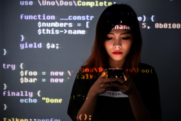 Human addicted to smartphone technology | High school girl immersed to information technology