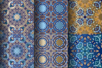 Collection of Eastern seamless borders. Stripes with Blue Floral Motifs, Paisleys. Decorative ornament backdrop for fabric, textile, wrapping paper.