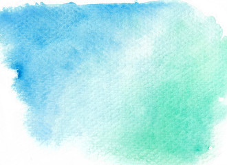 Green abstract watercolor background. Hand painted illustration.