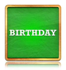 Birthday green chalkboard square button