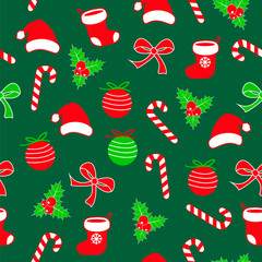 Seamless christmas pattern with lolipop candy, christmas ball, santa claus socks and hat, bow ribbon and holly berries red, white green backgorund. Cute simple flat vector, design for wrapping paper.