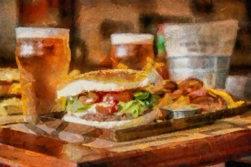 Oil painting. Art print for wall decor. Acrylic artwork. Big size poster. Watercolor drawing. Modern style fine art. Delicious juicy burger with french fries. Glass of light beer.