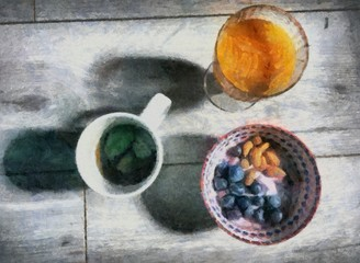 Oil painting. Art print for wall decor. Acrylic artwork. Big size poster. Watercolor drawing. Modern style fine art. Cup of green tea. Blueberry and almond on plate. Still life.