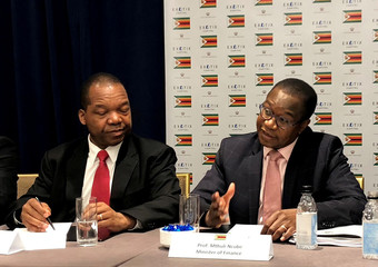 Reserve Bank of Zimbabwe Governor Mangudya and ZimbabweÕs Finance Minister Ncube brief reporters in New York