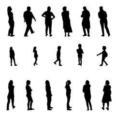 Set of Black and White Silhouette Walking People and Children. Vector Illustration