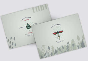 Postcard Layout Set with Nature Illustrations