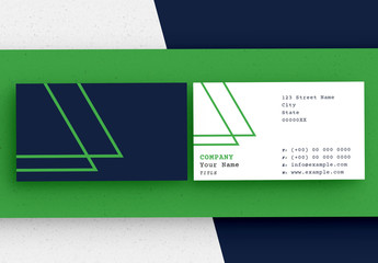 Dark Blue and White Business Card Layout Set