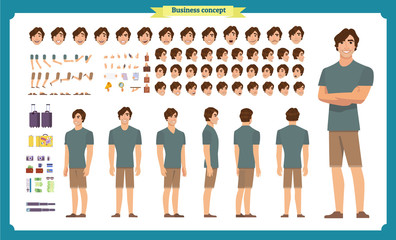 Young man in casual clothes. Character creation set. Full length, different views, emotions, gestures, isolated against white background. Build your own design.