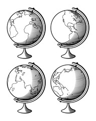 Set of globes in retro-style. Outline vector illustration
