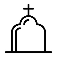 Church line icon. Religion vector illustration isolated on white. Architecture with poison, skull and bones outline style design, designed for web and app. Eps 10.