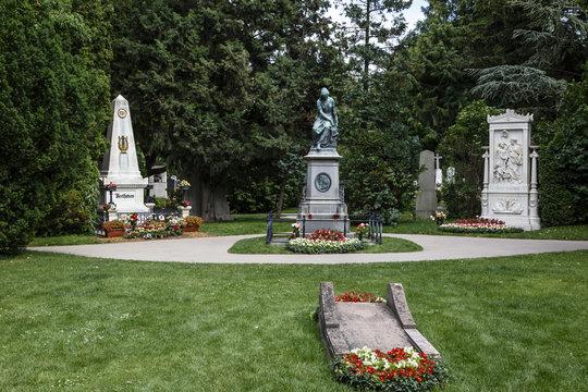 Graves of the composers Ludwig von Beethoven, Wolfgang Amadeus Mozart and Franz Schubert, Zentralfriedhof, Vienna Central Cemetery, Vienna, Austria.
