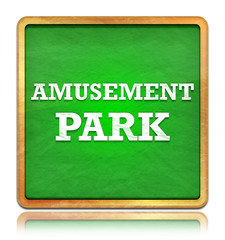 Amusement Park green chalkboard square button