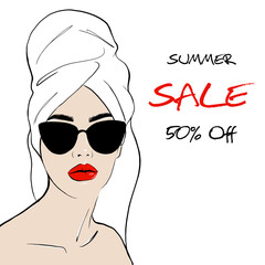 Beauty spa face with red lips and with black sunglasses, pretty woman in towel and in bathrobe. Summer sale offer Sale concept. Fashion, style, beauty. Graphic, sketch drawing. Vector illustration