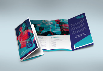 Dark and Light Blue Trifold Brochure Layout