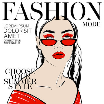 Chic girl, woman face in red clothes with red makeup and sunglasses vector illustration in style of magazine cover design. Beautiful young girl model. Fashion style, beauty. Graphic, sketch drawing