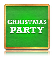 Christmas Party green chalkboard square button