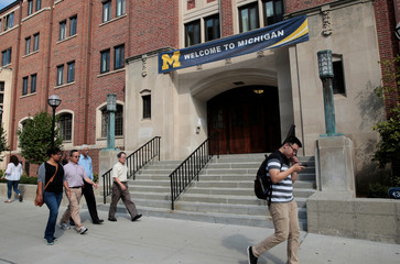 """A """"Welcome"""" banner is seen on a University of Michigan building in Ann Arbor"""