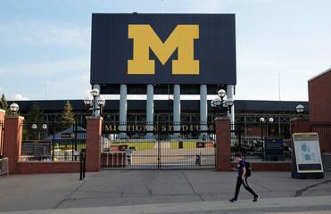 The University of Michigan M is seen at the Michigan football stadium in Ann Arbor