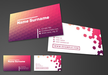 Business Card Layout with Hexagons