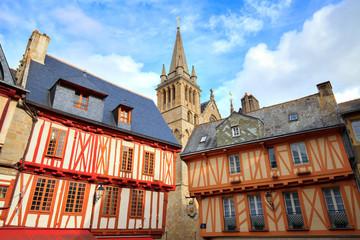Printed kitchen splashbacks Historical buildings Vannes, Bretagne, Morbihan, Cathédrale et maisons à colombage, place Henri 4