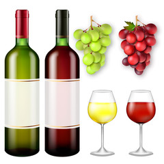 Realistic bunches of grapes and bottles of wine