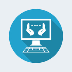 Hand gesturing for computer measures - Vector flat icon