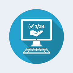 7/24 online services - Vector flat icon