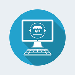 Online shop full time 7/24 - Vector flat icon