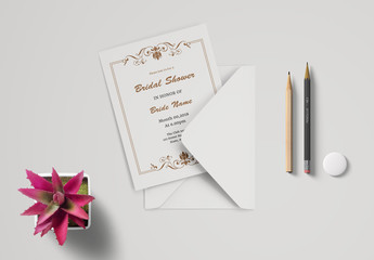 Bridal Shower Invitation Card Layout with Brown Ornamental Elements