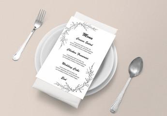 Wedding Menu Card Layout with Foliage Illustrations