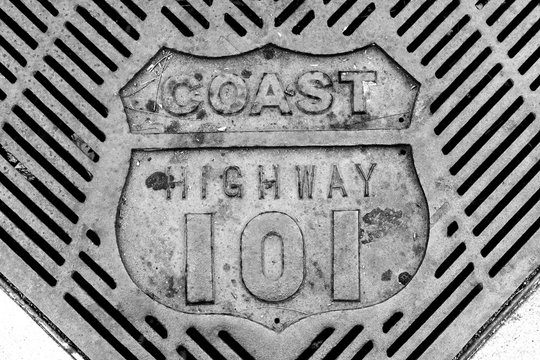Retro old vintage coast highway 101 grate close-up in black and white