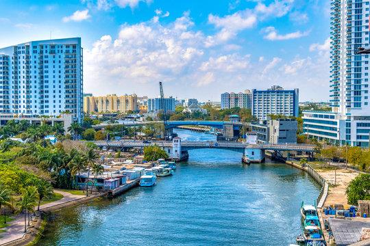 Miami River, aerial view, Florida, USA