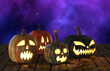 Halloween Pumpkins Jack O Lantern Holiday 3D Illustration