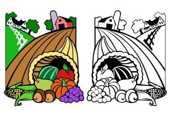 Harvest time, scene of a farm, barn, house and cornucopia