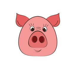 The pig is a symbol of the New year 2D illustration isolated on white.