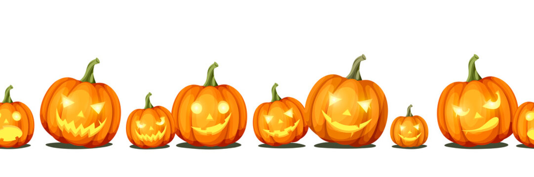 Vector horizontal seamless background with jack-o'-lanterns (Halloween pumpkins).
