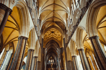 Celling inside the Salisbury Cathedral, England. Medevial architecture. Selective focus. copy space.