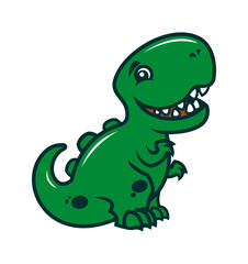 Smiling dinosaur - a cute cartoon character mascot
