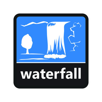 Waterfall sign with label for print and digital content